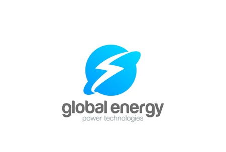 Global Energy Power Planet with Flash Thunderbolt Logo design vector template.  World universe technology Logotype concept. Negative space style icon