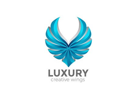 Eagle Wings Logo design vector template.  Luxury corporate heraldic Falcon Phoenix Hawk bird Logotype concept icon Illustration