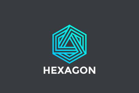 Hexagon-Dreieck-Logo geschlungene Unendlichkeitsentwurfs-Vektorschablone lineare Art. Neon Corporate Business Technology unendliche Logotype Konzept Symbol