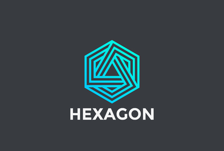 Hexagon Triangle Logo looped infinity design vector template Linear style.  Neon Corporate Business Technology infinite Logotype concept icon Illustration