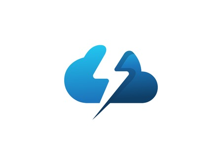 Powerful Cloud computing Logo design vector template Negative space style.  Digital Server Network Technology Business Logotype with Flash thunderbolt icon