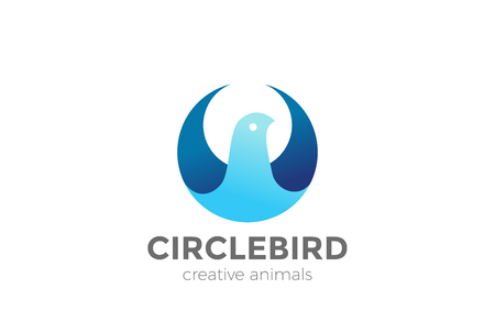 Bird abstract Circle shape Logo design vector template.  Eagle Falcon Dove Pigeon Logotype concept icon Иллюстрация