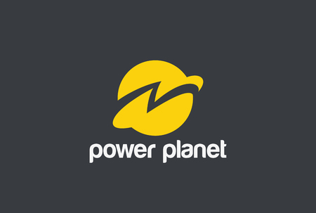 Energy Power Planet with Flash Thunderbolt Logo design vector template.  Global world technology Logotype concept. Negative space style icon Çizim