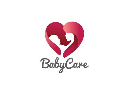子供赤ちゃん心臓形ロゴ デザイン ベクトル テンプレートを保持している母親。  医学クリニック気にチャリティー基金のロゴのコンセプト アイコ