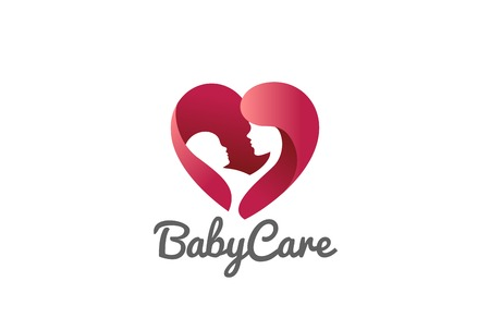 Mother holding Child baby Heart shape Logo design vector template.  Medicine Clinic Care Charity Fund Logotype concept icon