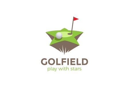 ゴルフフィールドスターシェイプロゴデザインベクターテンプレート。  ゴルフクラブロゴタイプコンセプトアイコン