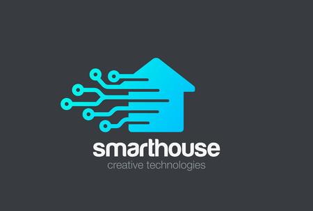 スマートハウスロゴデザインベクターテンプレート。  デジタルエレクトロニクスチップコントロールホームロゴタイプのコンセプトアイコン  イラスト・ベクター素材