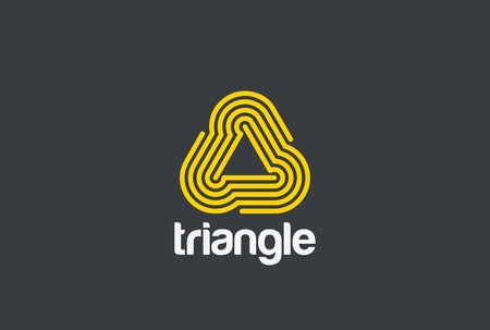 Triangle looped infinite Logo abstract design vector template Linear style.  Infinity Loop technology neon Logotype concept icon