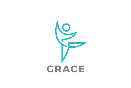 Fitness Dancing character abstract Logo design vector template.