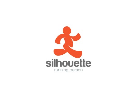 Running Man silhouette Delivery Logo design vector template.  Sport Fitness Logotype concept icon