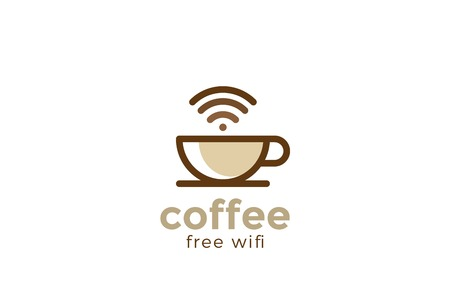 Coffee cup Cafe with free wifi Logo design vector template Linear style
