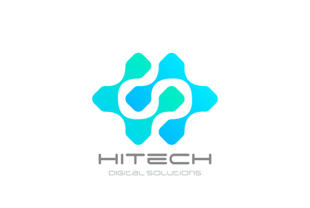 Hi-tech Chip DNA Atom Molecule Logo design vector template Иллюстрация