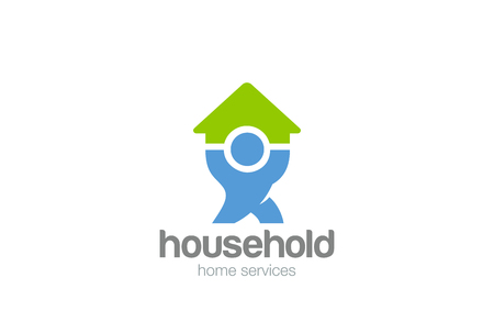 Household service Logo design vector template.  Man holding House Home Logotype concept icon