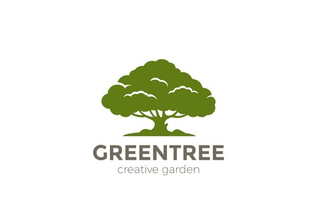 Green Oak Tree abstract Logo design vector template.  Nature Environment Garden Logotype concept icon