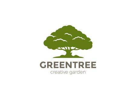 Green Oak Tree plantilla de vector de diseño de logotipo abstracto. Icono del concepto de logotipo de naturaleza medio ambiente jardín