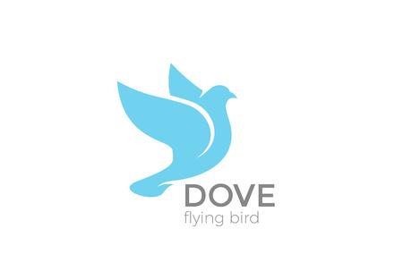 Flying Dove silhouette Logo design vector template. Pigeon Bird Logotype concept icon 일러스트