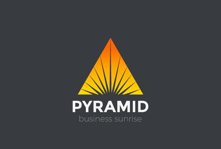 Estrella de la puesta del sol de la salida del sol en el triángulo de la pirámide del logotipo del diseño del logotipo del vector. logotipo de lujo de lujo de estilo de logotipo negativo de Foto de archivo - 85661941