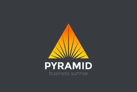 Sunrise Sunset Star in Triangle Pyramid Logo abstract design vector template.  Corporate Business Luxury Logotype Negative space style Illustration