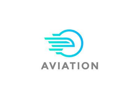 Flying Airplane abstract in Sun Circle Logo design vector template Linear style.  Aviation Aircraft company Logotype concept icon Illustration
