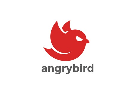 Angry Flying Red Bird abstract Logo design vector template.  Sparrow Logotype concept icon