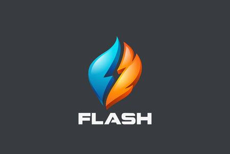Flash thunderbolt Power Logo design vector template.  Alternative renewable electric Energy Logotype concept icon