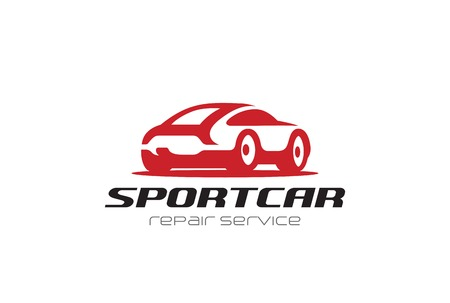 レッドスポーツカーシルエットロゴデザインベクターテンプレートネガティブスペーススタイル。  修理家賃レース車両ロゴのコンセプトアイコン