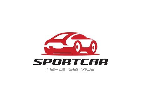 빨간색 스포츠 자동차 실루엣 로고 디자인 벡터 서식 파일 부정적인 공간 스타일입니다. 수리 렌트 차량 로고 타입 개념 아이콘