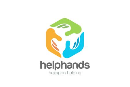 Plantilla de vector de diseño de logotipo abstracto tres manos hexágono social Ayuda Asistente Apoyo Trabajo en equipo Fondo de donación de caridad Icono del concepto de logotipo Logos