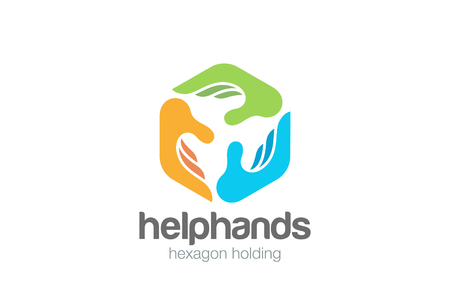 Social Three Hands Hexagon abstract Logo design vector template.  Help Assistant Support Teamwork Charity Donation Fund Logotype concept icon Ilustração
