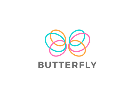 Colorful Butterfly design template Linear style