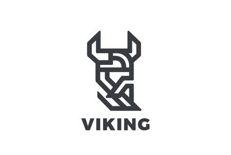 ひげロゴ デザイン ベクトル テンプレート直線的なスタイルのヘルメットでバイキング オーディン頭。