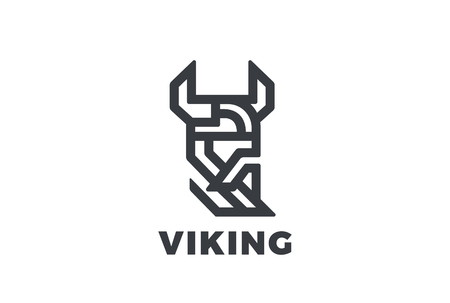 Viking Odin Head in Helmet with Beard Logo design vector template Linear style.