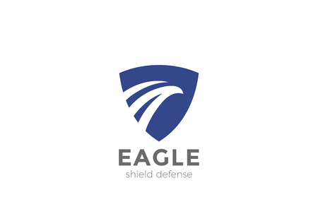 Eagle Shield Logo design vector template Negative space style. Legal Lawyer Security Guard Protection Defense Logotype concept icon