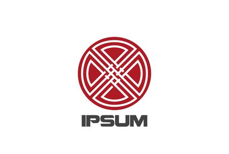 Kreis-Kreuz abstrakte Logo Design Vektor Vorlage lineare Stil. Red Emblem Logo Loop-Konzept-Symbol Standard-Bild - 85879639