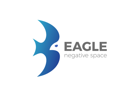 Flying Eagle Logo design vector template Negative space style