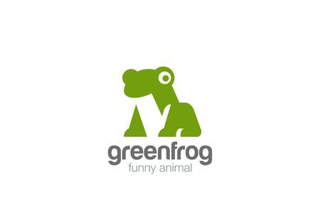 녹색 개구리 기하학적 추상 로고 디자인 벡터 서식 파일 부정적인 공간 스타일입니다. 재미있는 동물 로고 타입 개념 아이콘 일러스트