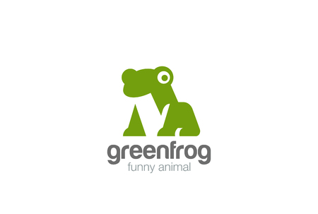 Green Frog geometric abstract Logo design vector template Negative space style.  Funny Animal Logotype concept icon Illustration