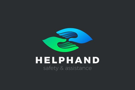Help Support Assistance Safety Two Hands Logo design vector template.  Social Friendship Partnership Logotype concept icon