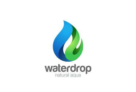 Water drop Logo design vector template. Droplet eco natural aqua Logotype. Blue green icon