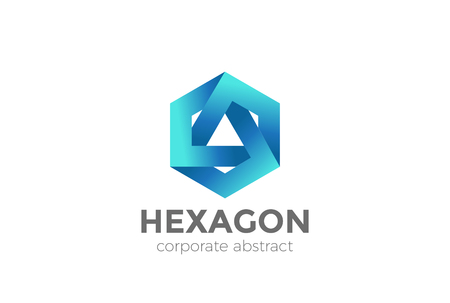 Hexagon Triangle Logo looped infinity design vector template.  Corporate Business Technology infinite Logotype concept icon Illustration