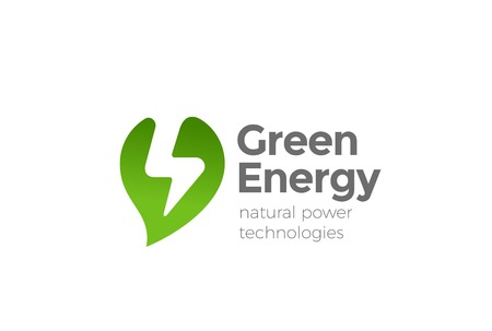 Green Alternative Energy Power Logo design vector template Negative space style. Leaf with Thunderbolt Flash Logotype concept icon