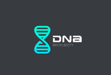 DNA Gen Molecule Logo design vector template.  Genetic Engineering Biotechnology Logotype concept icon
