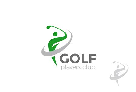 골프 플레이어 공을 안타 로고 디자인 벡터 템플릿입니다. 골프 클럽 크리 에이 티브 로고 타입 개념 아이콘