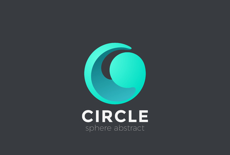 Cerchio onda sfera logo astratto modello vettoriale modello di design Logotype . Concetto di logo di goccia d & # 39 ; onda Archivio Fotografico - 85681447