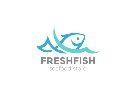 Fish in water Logo design vector template. Seafood restaurant shop store Logotype concept icon