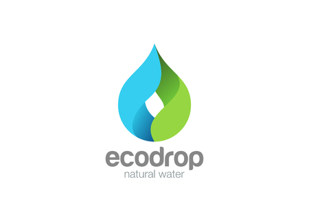 Water drop Logo design vector template.  Droplet eco natural aqua Logotype. Blue green icon Illustration