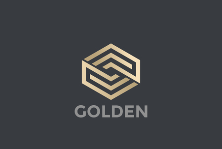 Gold Hexagon Arrows Logo looped infinity design vector template Linear style.  Golden Corporate Business Luxury Logotype concept icon