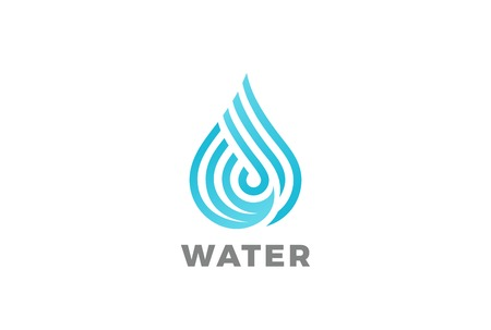 Water drop Logo design vector template Linear style.