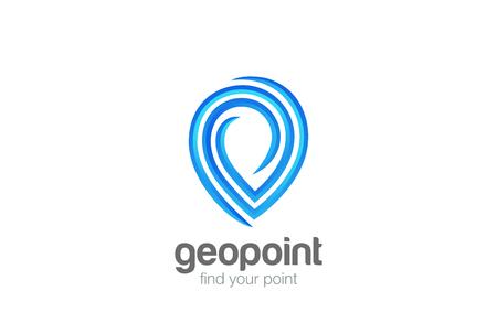 Mappa Geo Point Locator Navigazione Logo design template vettoriale. Indicatore di navigazione GPS geografico Archivio Fotografico - 85704672