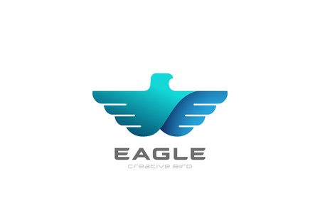Eagle flying soaring Logo design vector template.  Bird Falcon Hawk Heraldic Logotype concept. Heraldry icon